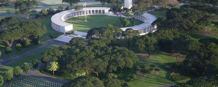 Aerial View of Manila American Cemetery in the Philippines