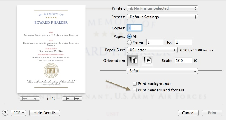Printing Tips   American Battle Monuments Commission