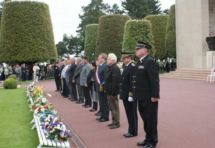 Special guests participate in the wreath-laying ceremony as part of the 68th anniversary commemorating the D-Day landings.