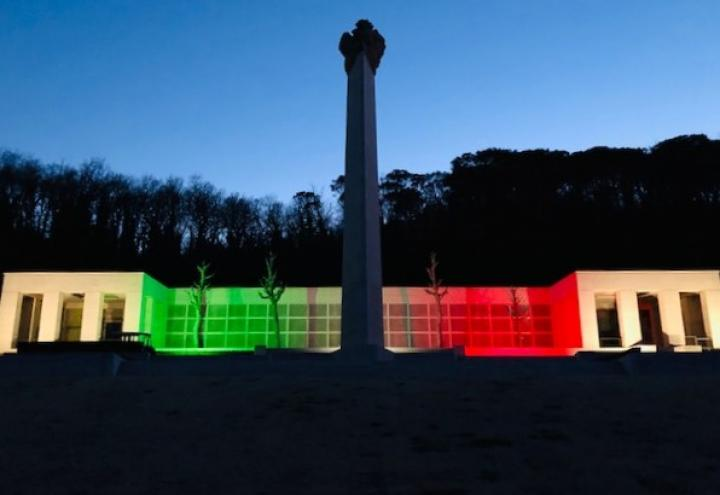 Florence American Cemetery is illuminated with Italian colors