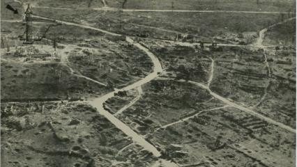 Historic image showing bombed out land near Montfaucon.