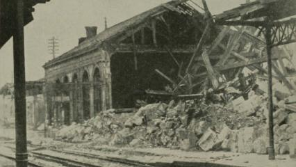 Historic image showing destroyed rain station in Sedan, France.