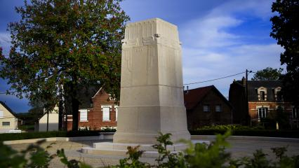 The four-side stone monument is located in the village of Cantigny.