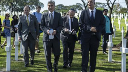 Official party at the change of headstones ceremony at Manila American Cemetery