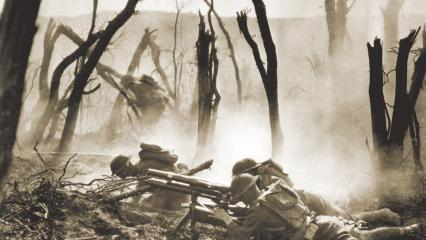 37-mm gun section of the 2nd Division in action against German Forces.