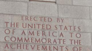 "Inscription on Naval Monument at Brest reads: ""Erected by United States of America to Commemorate Achievement of U.S. Navel Forces and France during the World War."""