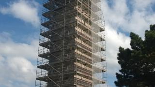 The Naval Monument at Brest is surrounded by scaffolding.