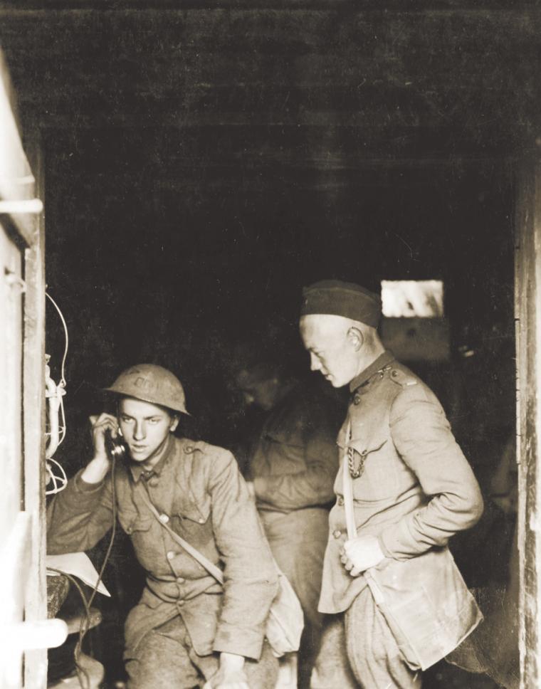 Phoning to the guns. Battery B, 21st Artillery near Thiaucourt, France. September 24, 1918.