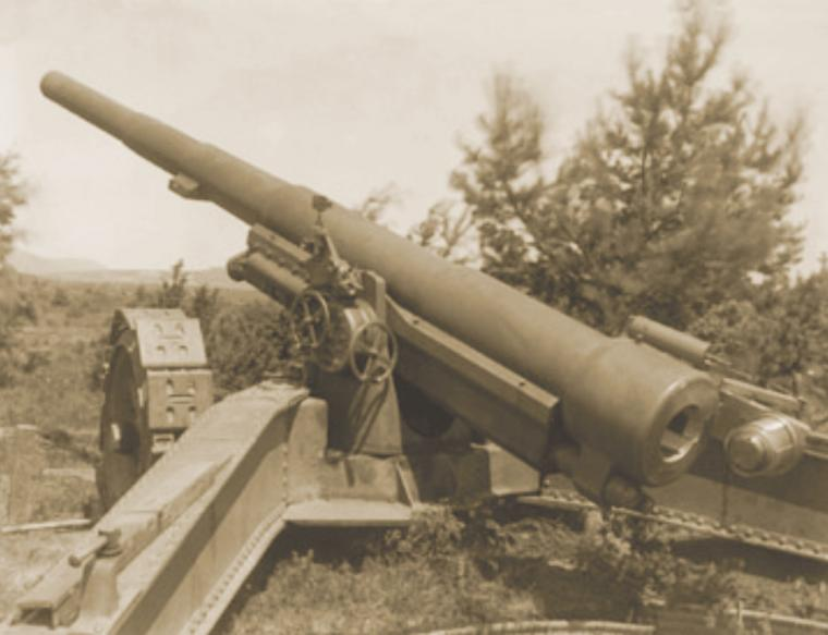 Recaptured German 155mm gun from World War II.