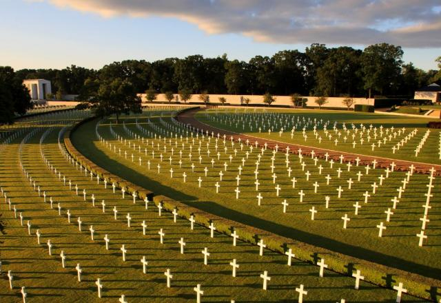 Early morning sun creates shadows for the rows of headstones at Cambridge American Cemetery, June 25, 2014. ABMC photo: Warrick Page