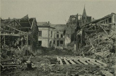 Historic images shows the destruction of Grandpre, France during World War I.
