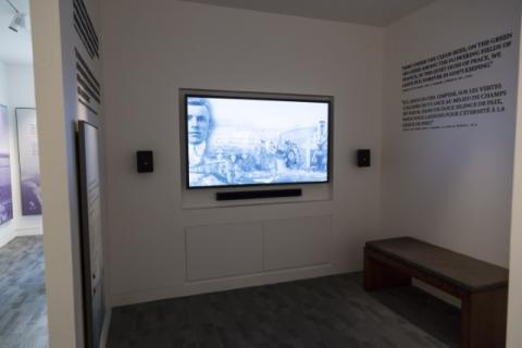 The film is shown on a screen inside the visitor center at Meuse-Argonne.