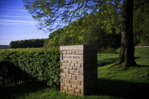 The entrance to Belleau Wood is marked by a brick column.