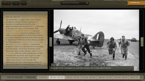 This screenshot from the Americans in Great Britain Interactive shows American pilots in Great Britain.