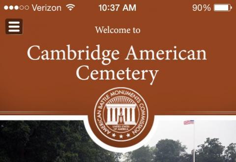 Homescreen of the Cambridge American Cemetery App