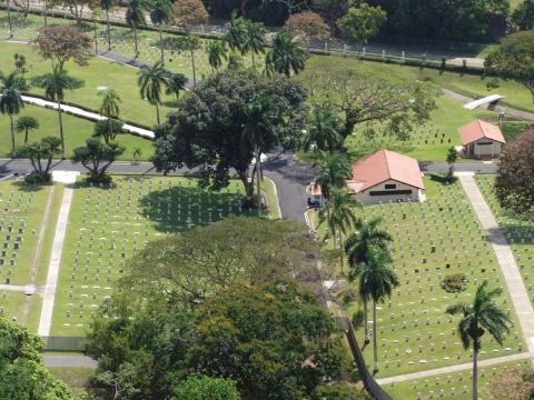 Aerial view of the Corozal American Cemetery.