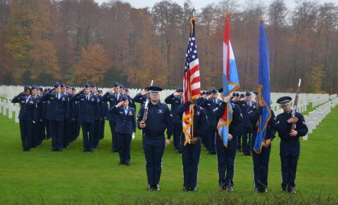 Members of the 52nd Fighter Winger participate in the ceremony.