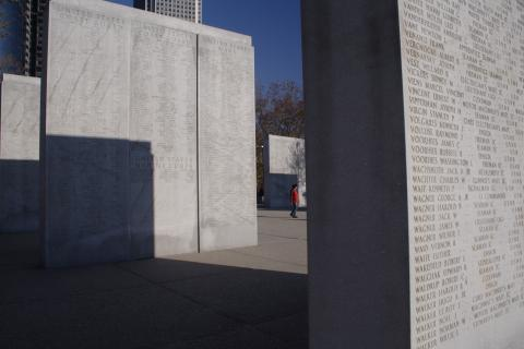Walls of the Missing at the East Coast Memorial in New York City.