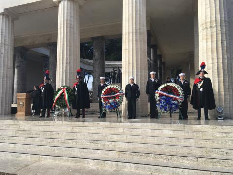 Multiple wreaths were laid during the ceremony.