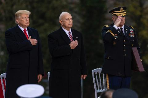 Trump and Matz place hand over heart while standing