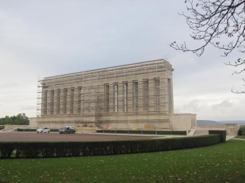 Metal scaffolding surrounds the monument in preparation for the maintenance work.