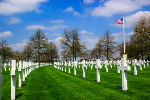 Grass, headstones, and flagpole are seen at Netherlands American Cemetery