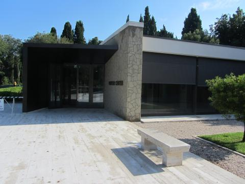 Outside the new visitor center at Sicily-Rome American Cemetery.