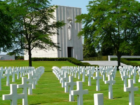 Rows of headstones located at Lorraine American Cemetery.