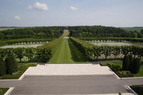 In the distance the visitor center at Meuse-Argonne American Cemetery is barely visible.