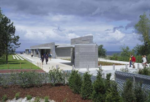 A view of the outside of the Normandy Visitor Center.