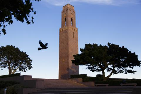 The monument is a rectangular rose colored granite shaft rising 145 feet above the lower terrace and 100 feet above the Cours Dajot.