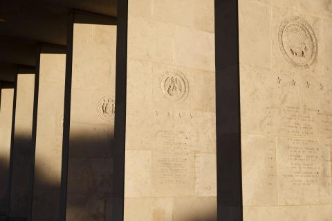 Stone colonnades at Henri-Chapelle American Cemetery include names of the missing.